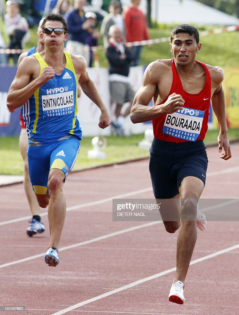 Larbi Bouraada of Algeria competes with Eelco Sintnicolaas of Netherlands during the 400 metre race on the first day of the Men's decathlon meeting held in Goetzis, Austria on May 29, 2010 some 640 kilometres west of Vienna. .
