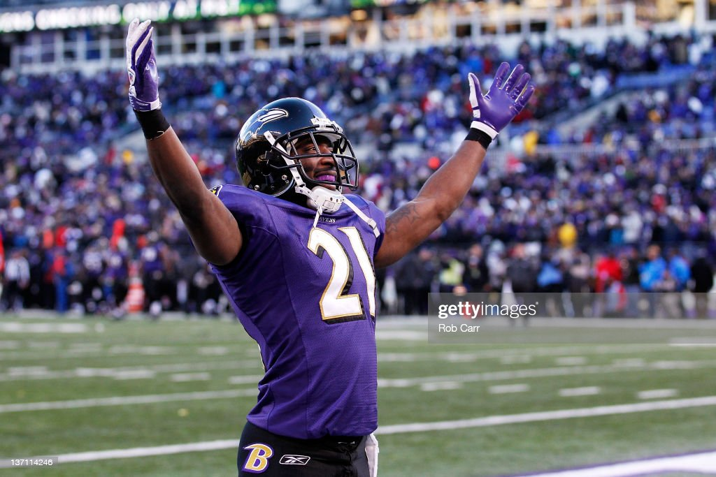 <a gi-track='captionPersonalityLinkClicked' href=/galleries/search?phrase=Lardarius+Webb&family=editorial&specificpeople=5735454 ng-click='$event.stopPropagation()'>Lardarius Webb</a> #21 of the Baltimore Ravens celebrates after a pass was interecepted by teammate Ed Reed #20 (not picuterd) during the fourth quarter of the AFC Divisional playoff game against the Houston Texans at M&T Bank Stadium on January 15, 2012 in Baltimore, Maryland. The Baltimore Ravens won 20-13 in regulation.