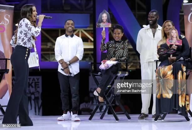 Larenz Tate Jada Pinkett Smith Kofi Siriboe and Queen Latifah from the movie Girls Trip speak during the Essence Music Festival at the Ernest N...