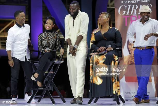 Larenz Tate Jada Pinkett Smith Kofi Siriboe Queen Latifah and Will Packer from the movie Girls Trip speak during the Essence Music Festival at the...