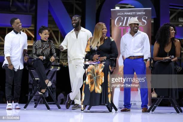 Larenz Tate Jada Pinkett Smith Kofi Siriboe Queen Latifah Will Packer and Tiffany Haddish from the movie Girls Trip speak during the Essence Music...