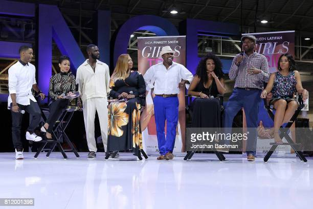 Larenz Tate Jada Pinkett Smith Kofi Siriboe Queen Latifah Will Packer Tiffany Haddish Malcolm Lee and Regina Hall from the movie Girls Trip speak...