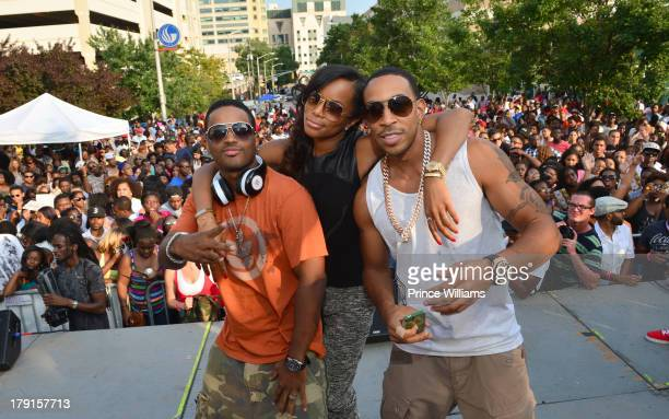 Larenz Tate Letoya Luckett and Ludacris on stage at the LudaDay Weekend Black Party hosted by Teyana Taylor at Georgia State University on August 31...