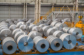 Large Aluminium Steel Rolls in the factory, high angle view