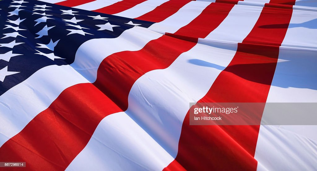 A large American flag is seen on display before the start of the 2017 Rugby League World Cup match between Fiji and the United States on October 28, 2017 in Townsville, Australia.