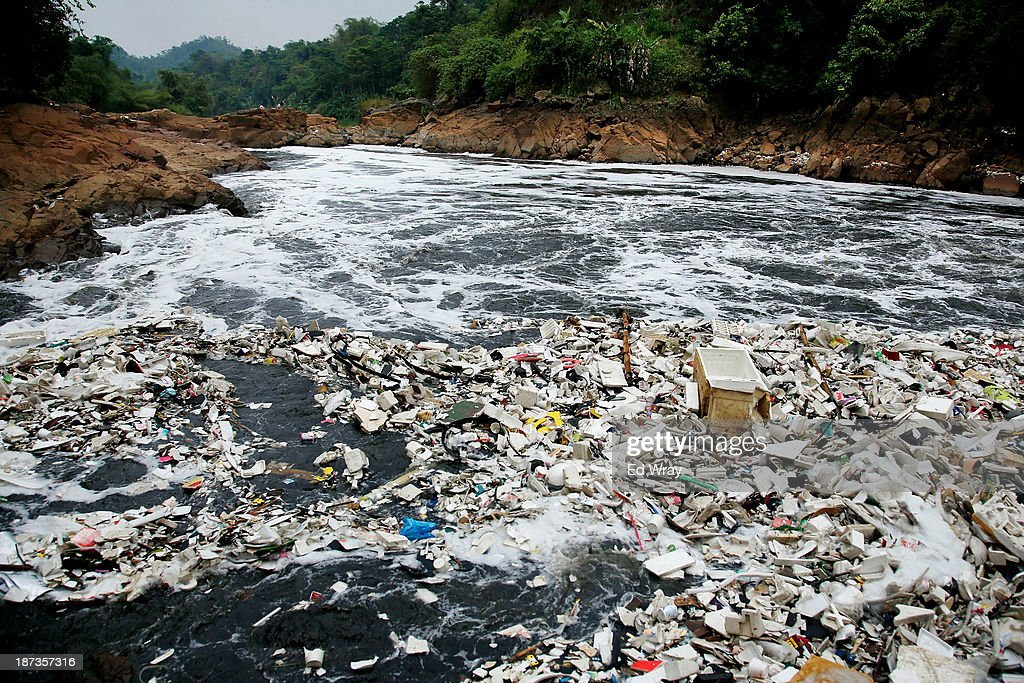 A large amount of domestic waste floats on the surface of the heavily polluted Citarum river on November 8, 2013 in Cipatek, Indonesia. The effects of domestic and industrial waste from factories along the river have prompted two leading environmental groups, Green Cross of Switzerland and the Blacksmith Institute, to name the Citarum river as one of the earth's 10 most polluted places in their annual report.