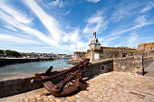 Large anchor in front of Ville-Close of Concarneau, France