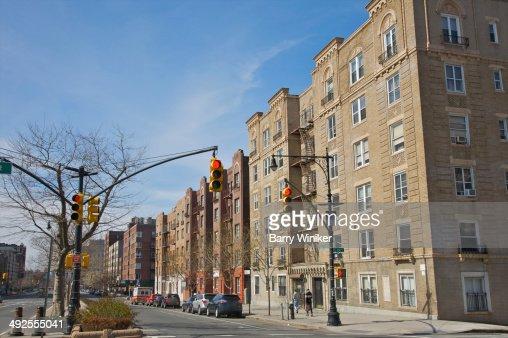 Large apartment buildings facing boulevard