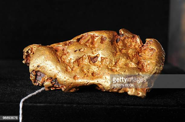A large Australian gold nugget with an estimated sale price of USD 100000150 is on display at an auction preview May 6 2010 in Los Angeles Bonhams...