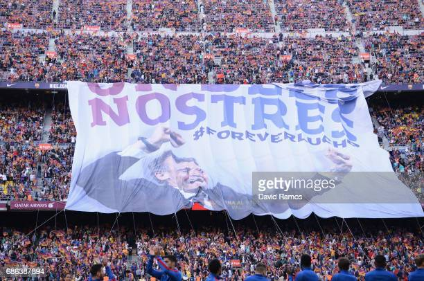 A large banner is pictured in tribute to Luis Enrique Manager of Barcelona during the La Liga match between Barcelona and Eibar at Camp Nou on 21 May...