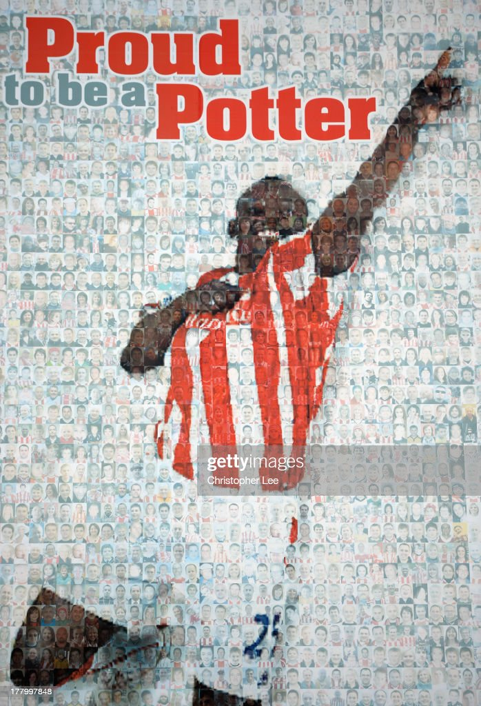A large banner of Ex Stoke City player Abdoulaye Faye is made up of images of Stoke City fans during the Barclays Premier League match between Stoke City and Crystal Palace at Britannia Stadium on August 24, 2013 in Stoke on Trent, England.
