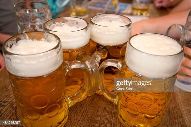 Large beers on beer hall table