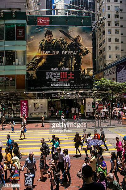A large billboard promoting the new Tom Cruise movie 'Edge of Tomorrow' hangs in the Times Square neighborhood on May 25 in Hong Kong China Hong Kong...