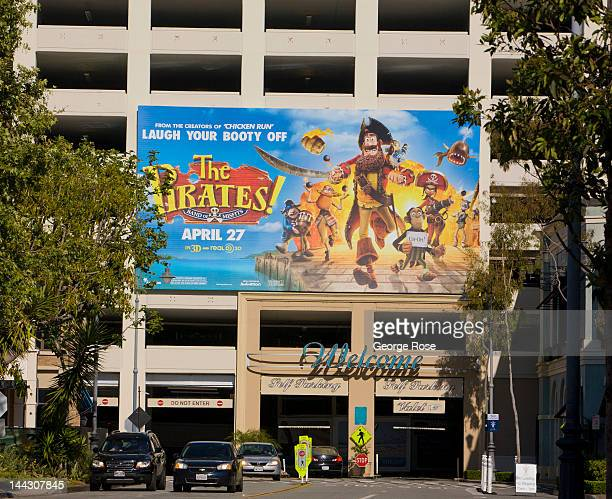 A large billboard promoting 'The Pirates' greets visitors to The Grove on April 26 2012 in Los Angeles California Millions of tourists flock to the...