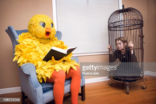 Large Bird Costume with Pet Person : Stock Photo