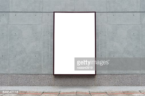 Large blank billboard on a street wall,  banners with room to add your own text : Stock Photo