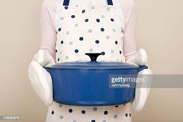 Large blue casserole dish