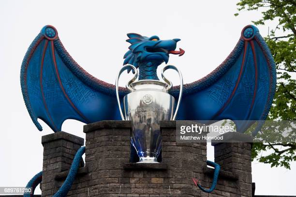 A large blue dragon with a Champions League trophy is seen in Cardiff Castle in Cardiff city centre on May 29 2017 in Cardiff Wales Preparations are...