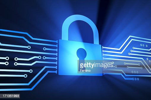 Large blue lock in middle of a communication illustration