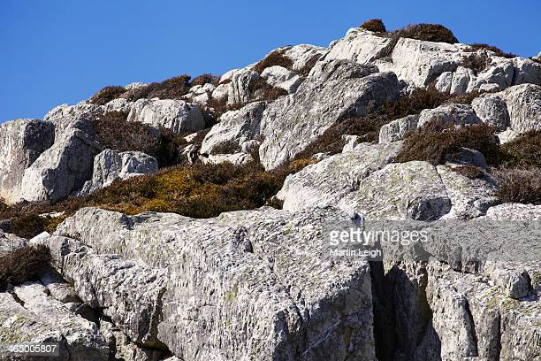 large boulders on hilltop with hardy grasses