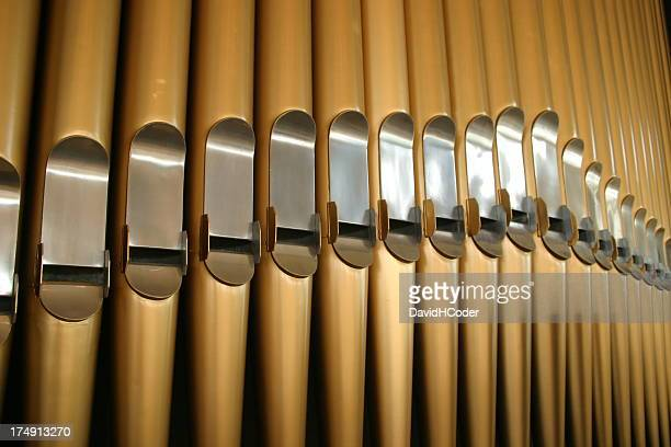 Large brass and steel pipe organ closeup