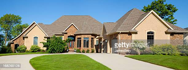 Large Brick Stucco Mansion Home Panorama