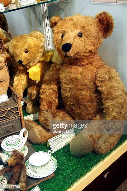 Large brown long mohair George the bear with boot button eyes by Steiff Germany 1910 Toy and model museum Brighton East Sussex England UK on