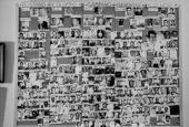 Large bulletin board showing photographs of bosses underbosses capos and soldiers in five NY organized crime families Bonanno Colombo Gambino...
