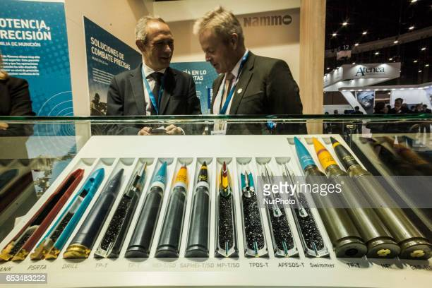 Large caliber bullets in the International security fair HOMSEC in Madrid Spain on March 14 2017
