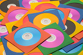 Many Discs in Cases in a large Messy Pile.