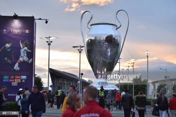 A large Champions League trophy is seen at the UEFA Champions Festival at Cardiff Bay on June 2 2017 in Cardiff Wales On Saturday Juventus will play...