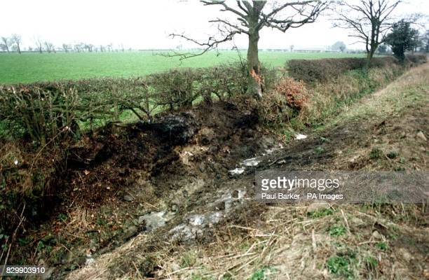 A large charred mark is all that remains where a car carrying 4 teenage school girls crashed into a ditch and burst into flames outside Harrogate...