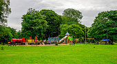 Aberdeen city views, Scottish cities, public family parks, landscapes, summer season, cloudy skies, playground equipment
