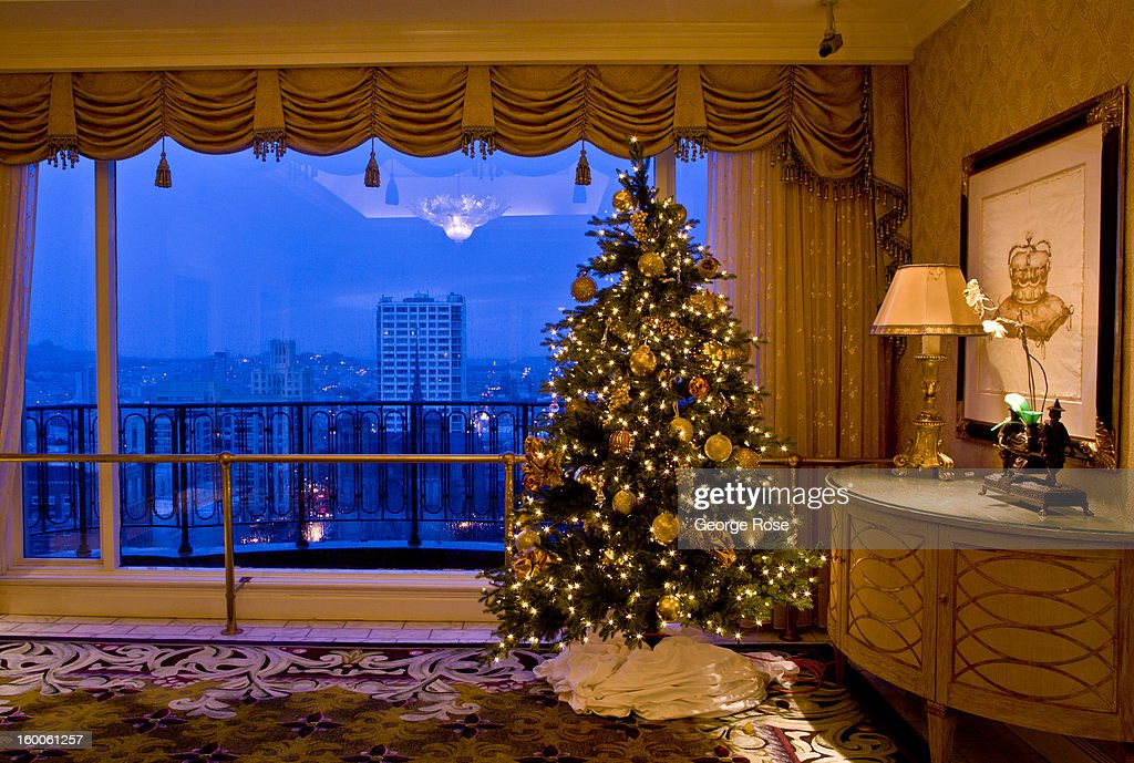 A large Christmas tree is displayed on the top floor of the Fairmont Nob Hill Hotel on December 22, 2012, in San Francisco, California. Though much of the religious aspects to Christmas have been removed, the holiday season is still celebrated with food, wine, wreaths, and decorative lighting.