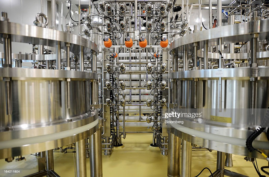Large chromatography columns and valves stand in the processing section of the CSL Behring plasma processing facility, a unit of CSL Ltd., in Melbourne, Australia, on Wednesday, March 20, 2013. CSL, the world's second-biggest maker of blood-derived therapies, is taking a hard look at its non-plasma businesses as incoming head Paul Perreault tries to assess their growth prospects. Photographer: Carla Gottgens/Bloomberg via Getty Images