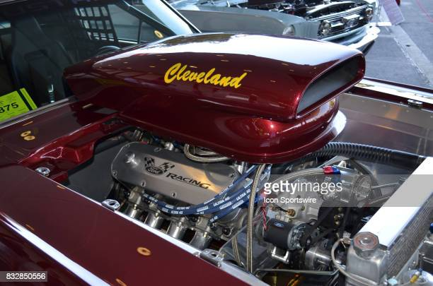 Large Cleveland air scope on the custom engine of the 1967 Ford Mustang on display at the Hot August Nights Custom Car Show the largest nostalgic car...