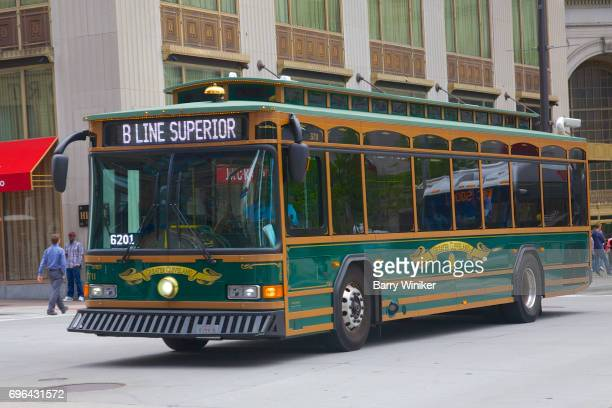 Large Cleveland downtown trolley
