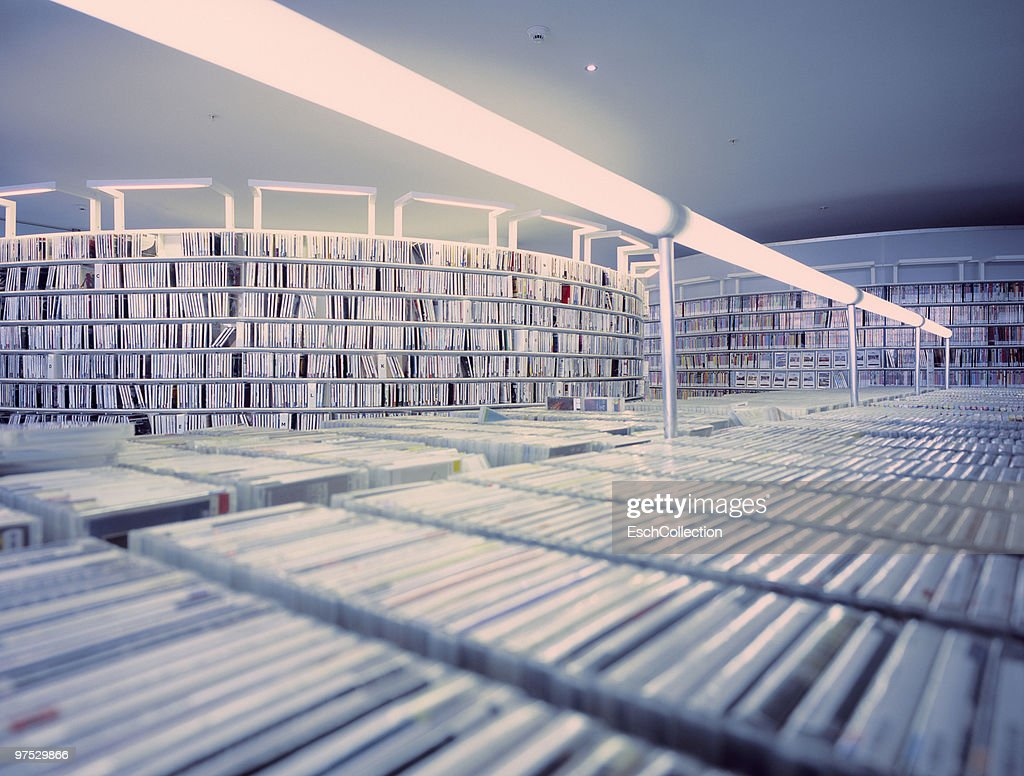 Large collection of CD's at a public library