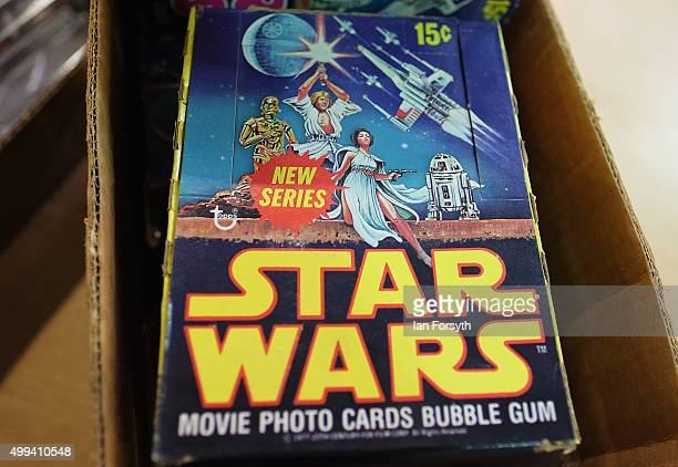 A large collection of movie photo bubble gum cards form part of a huge collection of a Star Wars memorabilia and collectables displayed ahead of an...