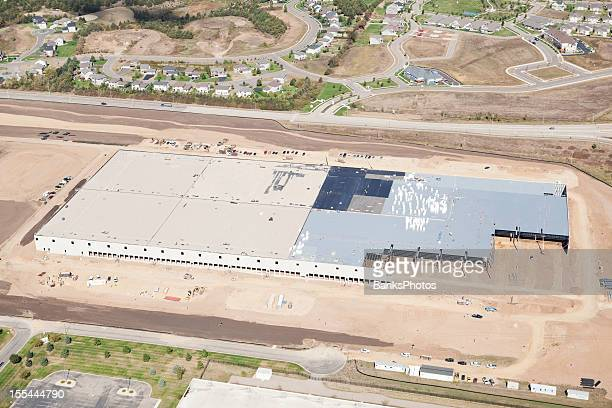 Grand entrepôt de commerce Site de Construction vue aérienne