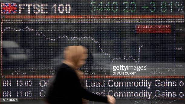 A large computerised display of the British FTSE 100 index is pictured in London on September 8 2008 The London Stock Exchange said Monday it had...