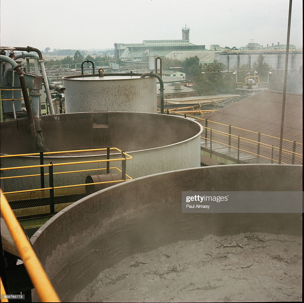 Large container filled with mining slurry at Hartebeesfontein Mines where gold and uranium are extracted