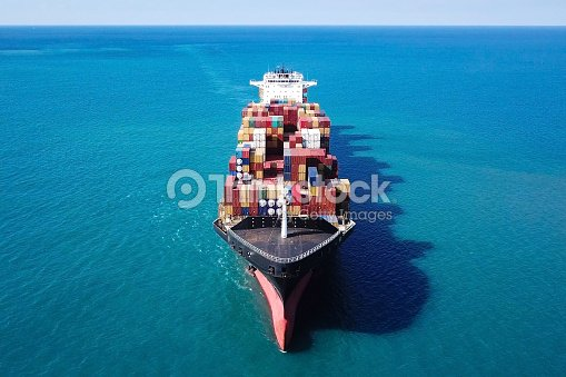 Large Container Ship At Sea Top Down Aerial Image Stock