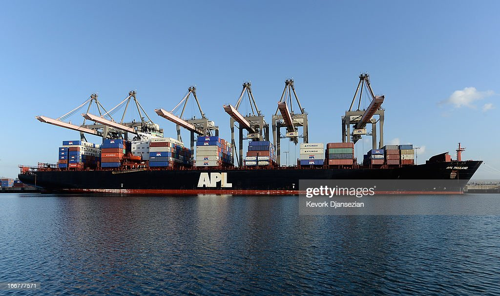 Large container ships are docked at a container terminal in the Port of Los Angeles on April 16 2013 in San Pedro California The Port of Los Angeles...