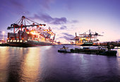 Large container terminal at the port of Hamburg.