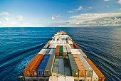 General cargo ship underway at sea.