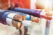 Large copper power cable in section closeup
