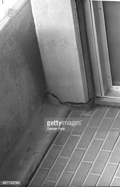 Large Crack in a Roof Beam shows in a Hallway Though it looks menacing there's no danger of collapse Credit Denver Post