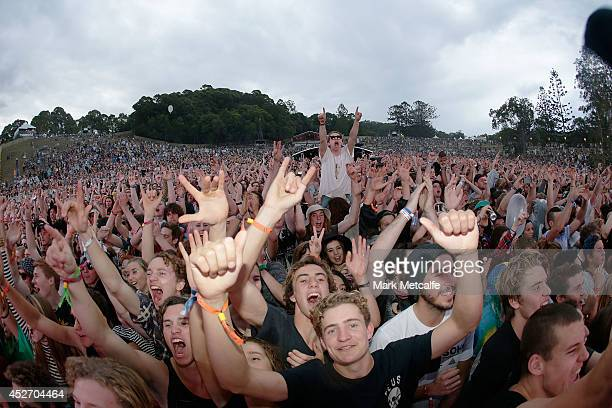 A large crowd at the amphitheatre watch Violent Soho perform on stage at Splendour In the Grass 2014 on July 26 2014 in Byron Bay Australia