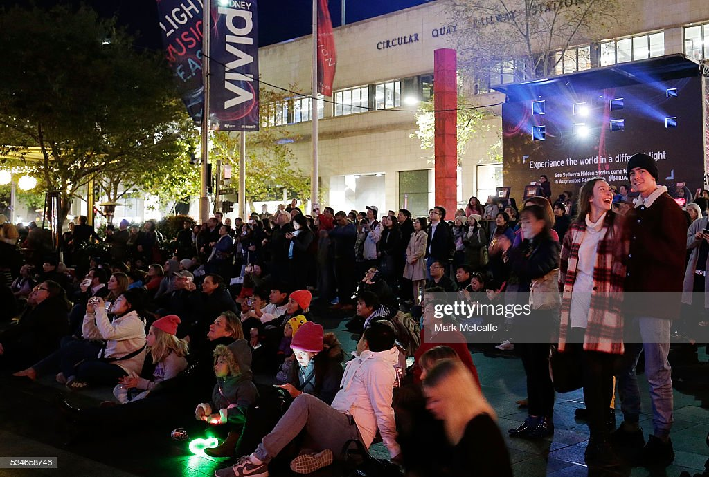 A large crowd attends Vivid Sydney on May 27, 2016 in Sydney, Australia. Vivid Sydney is an annual festival that features light sculptures and installations throughout the city. The festival takes place May 27 through June 18.